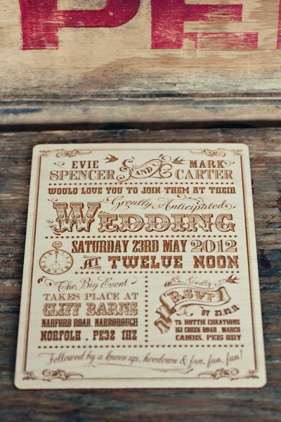 Hoe Down themed wedding stationary by Dottie Creations. Invitation lazer cut into wood. http://www.dottiecreations.com/