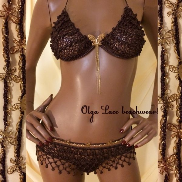 """Купить Вязаный купальник из коллекции """"Клеопатра"""" - Вязаный купальник, кружевной купальник, коричневый, шоколадный, золото"""