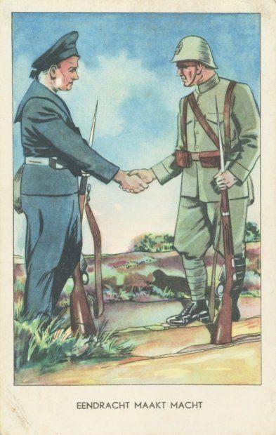Prentbriefkaart uit de mobilisatie 1939-1940. 'Eendracht maakt macht'.