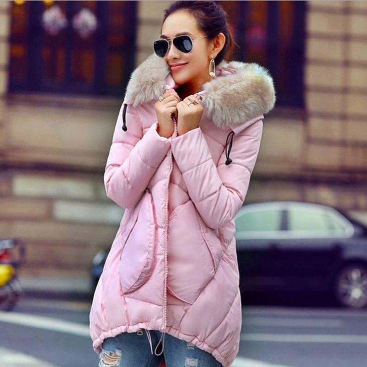 1PC 2015 Winter Jacket Women Cotton Padded Coat Fur Hood Plus Size Parka Women…