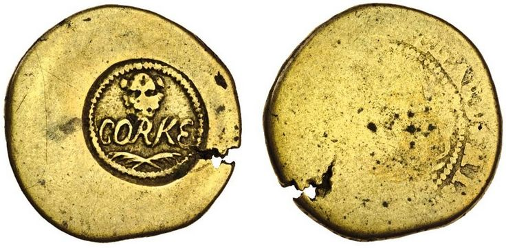 Cork Farthing, 4.40g, William Ballard, 1677, brass penny token smoothed and counterstamped on reverse, corke in script, leopards head above, palm branches below, all within toothed border, token undertype llard*his* still legible (Dowle & Finn 333; SCBI 49 Norweb, No 6214; S.6562B), striking crack encroaching onto counterstamp, the counterstamp very clear and full with some wear to the high points, very fine or better, an intriguing and very rare piece