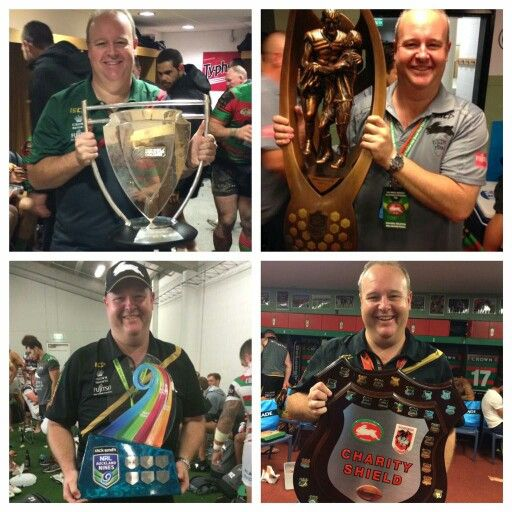 South Sydney Rabbitohs Trophies 2014 Grand Final,  World Cup Challenge, Charity Shield, NRL Nines
