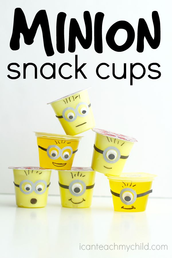 Minion Snack Cups:  Free Printable Goggles pattern for lemon-flavored pudding…