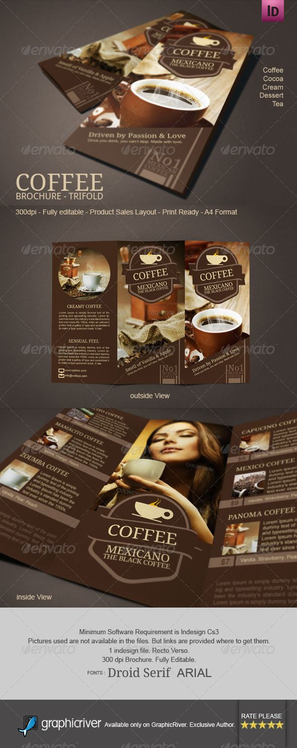cafe brochure design - 10 best images about coffee shop tri fold brochure on