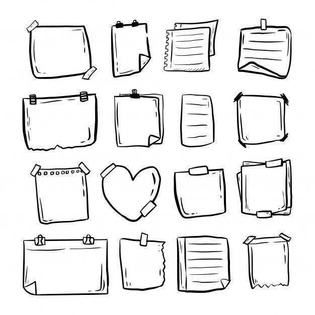 Hand Drawn Paper Doodle Sticky Notes Big Premium Vector Freepik Vector Scho Bullet Journal Lettering Ideas Bullet Journal Writing Bullet Journal Banner
