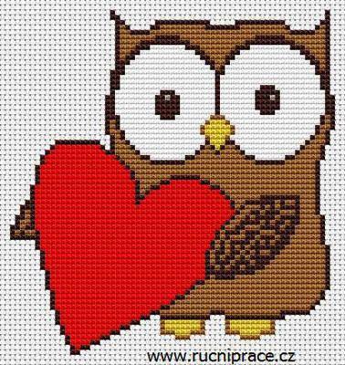 Owl, free cross stitch patterns and charts - www.free-cross-stitch.rucniprace.cz