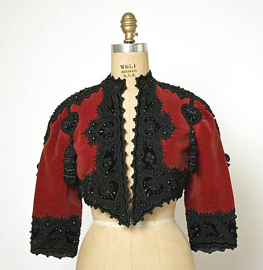 Jacket (Bolero), Evening.  House of Balenciaga  (French, founded 1937).  Designer: Cristobal Balenciaga (Spanish, 1895–1972). Date: fall/winter 1946–47. Culture: French. Medium: silk, cotton, wool, beading. Dimensions: Length at CB: 14 3/4 in. (37.5 cm).