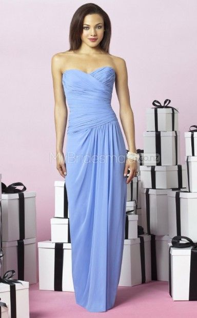 Sky Blue Chiffon Sheath Sweetheart Floor-length Bridesmaid Dresses(NZBD06244)