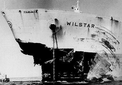 Damage done by a rogue wave. Rogue waves are most common in the Agulhas current off the east coast of South Africa, with numerous well documented cases of extreme individual waves, including some striking photographs of damaged ships. Here is shown bow damage received by Norwegian tanker Wilstar in 1974: the combination of pitch motion and a steep incoming wave can cause excessive local structural damage.