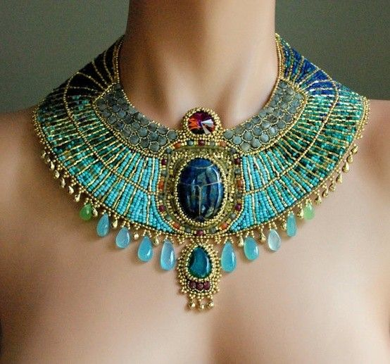 Egyptian Goddess - Gold Plate and Gemstone Statement Collar Necklace