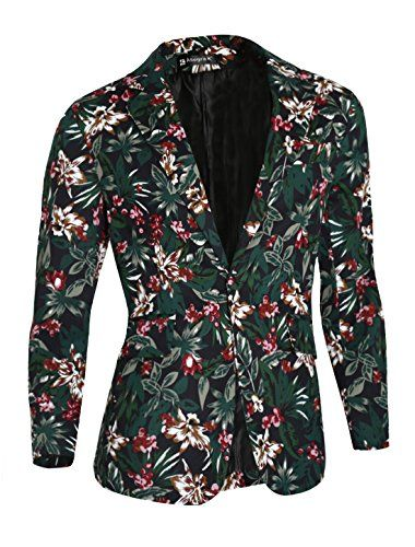 7f8928b31a702 Allegra K Men Floral Prints Padded Shoulder OneButton Blazer Jacket S Green      Continue to the product at the image link.-It is an affiliate link …