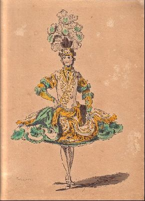This is a design for a ballet costume but similar designs were worn by castrati. The wide skirt is supported on a tonnelet. When recreated today these panniered skirts have to be carefully sewn & tied in place to prevent bounce. On a tall performer like Farinelli such skirts must have been very unwieldy.