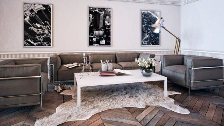 beautiful living room with bear skin rug