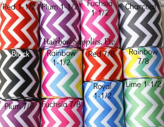 Chevron Ribbon NEW Grosgrain Ribbon - Choose Color and Length - Hairbow Supplies, Etc.