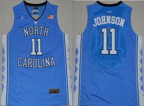 Men's North Carolina Tar Heels #11 Brice Johnson 2016 Light Blue Swingman College Basketball Jersey