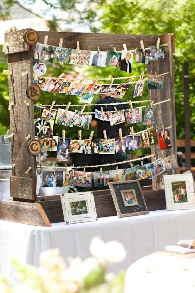 Pictures of the bride and groom throughout the years. Could easily change to graduate