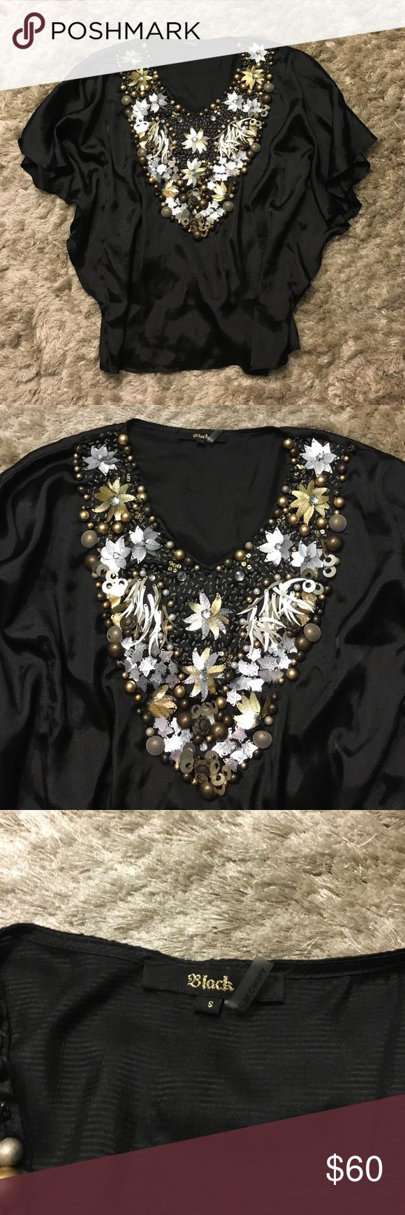 """Black Brand Couture Beaded Batwing Shirt Top S """"Black"""" couture brand gold and silver embellished beaded top shirt blouse. Size small. Worn once. Perfect condition. No rips, stains, or holes. Feel free to ask any questions or make an offer! Please check out my other listings, I do offer a bundle discount! Free People Tops"""