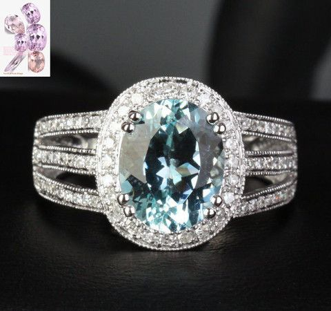 Oval Aquamarine Engagement Ring Pave Diamond Wedding 14K White Gold,8x10mm - Lord of Gem Rings - 1