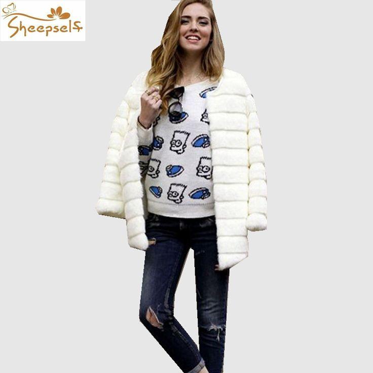 Plus Size Fashion Women Winter Faux Rabbit Fur Coats 2016 Full Sleeve Thicken Warm Outwear Jackets Femme Slim Fur Overcoat WF602