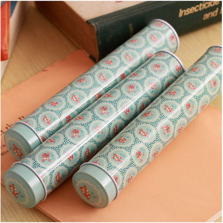 2014 Titulares NOVO 3.2x3.2x19cm do vintage caixa de lata pequena 6pcs/set escova pot / Pen caixas-inPen de Escritório e Material Escolar em Aliexpress.com