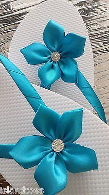 Malibu Blue Wedding Bridal Bridesmaid Flip Flops Size 8   eBay