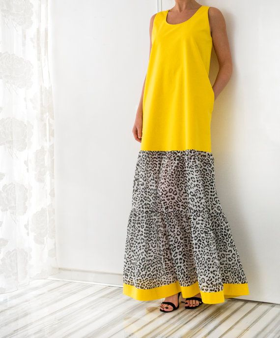 Yellow Cotton Maxi Dress Plus size dress by cherryblossomsdress
