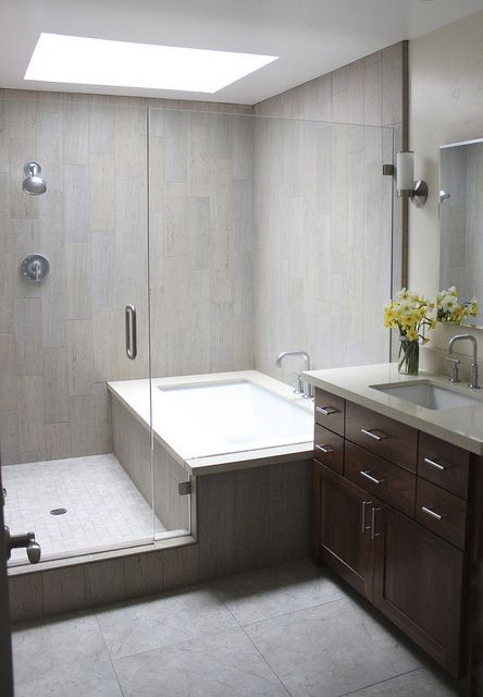 Shower and tub in one area