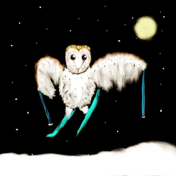 Barn owl skier