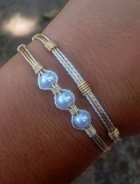 Wire Wrapped Silver and Gold Bracelet Set by AmbersCrafts2 on Etsy