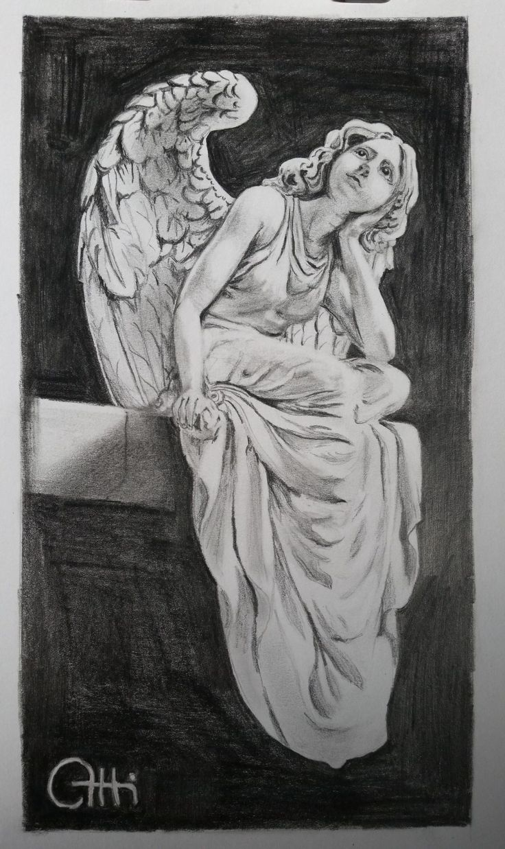 FineArtSeen - View Daydreaming angel by Att Vengarov. An original charcoal drawing. Browse more art for sale at great prices. New art added daily. Buy original art direct from international artists. Shop now