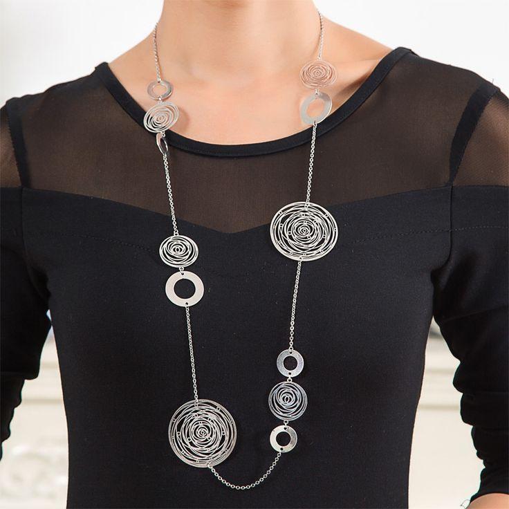 Женщины Серебряные Ожерелья Длинной Цепи Vintage Классическая Pattern Филигрань Ювелирные Изделия Ручной Работы Большой Колареш Collier femme купить на AliExpress