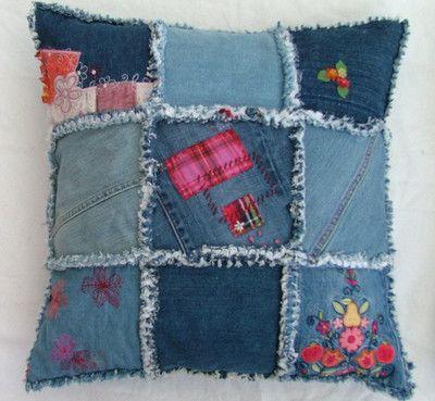 Denim Patchwork Cushion Idea