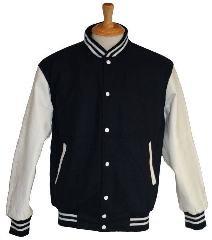 Navy wool with White leather sleeves - in stock and available for immediate delivery through our Facebook store  https://www.facebook.com/TeamVarsityJackets