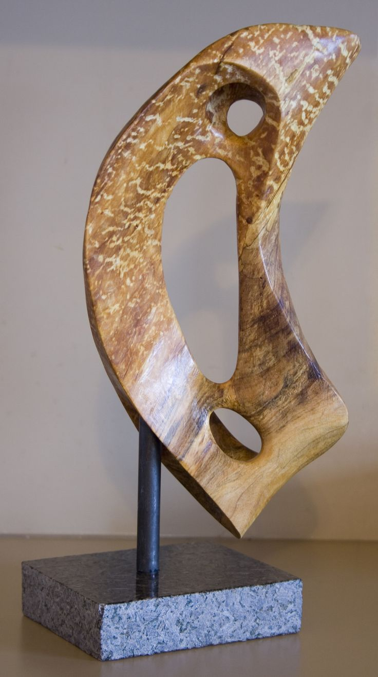 Maple burl sail form abstract wood sculpture by Sam Soet.