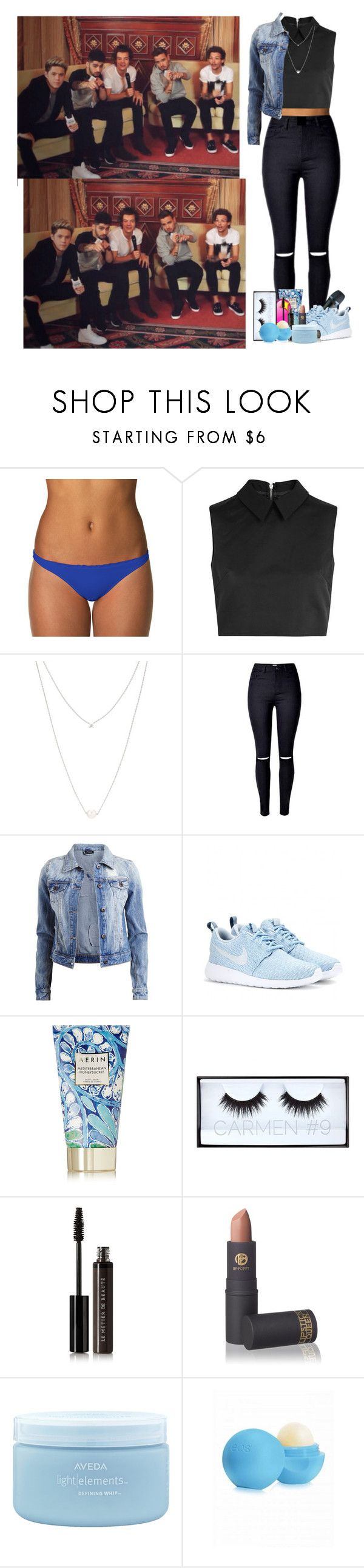 """""""To interview One direction"""" by dreamofjess ❤ liked on Polyvore featuring B. Swim, McQ by Alexander McQueen, Maison Margiela, VILA, Sennheiser, NIKE, AERIN, Huda Beauty, Le Métier de Beauté and Lipstick Queen"""
