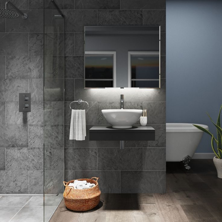 Click here to find out more about Mode Orion slate wall hung countertop basin shelf - £89.99