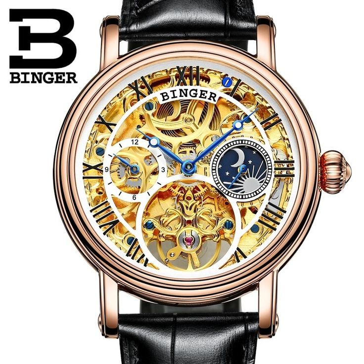 208.00$  Know more  - Mens Watches Top Brand Luxury Switzerland  Watches Relogio Masculino BINGER  Automatic Watches For Men Mechanical Clock B-1171