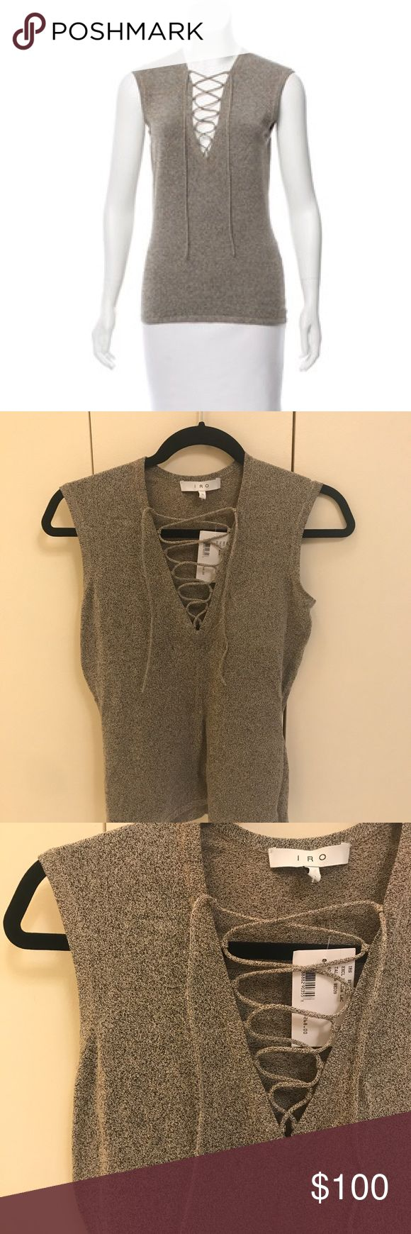 Iro Alida Lace Up Top Brand new, never been worn! Iro Spring Collection lace up sleeveless top; khaki/neutral color; stretchy fit IRO Tops Tees - Short Sleeve