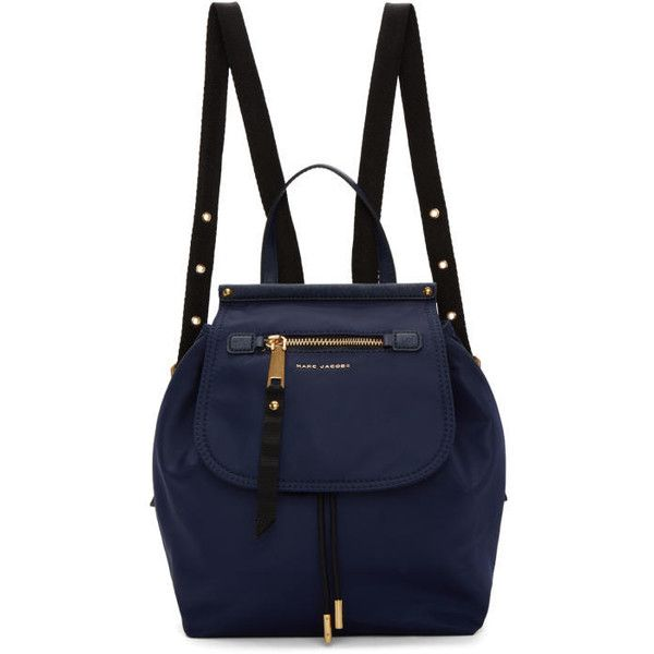 Marc Jacobs Navy Trooper Backpack ($265) ❤ liked on Polyvore featuring bags, backpacks, navy, drawstring bag, drawstring backpacks, blue backpack, navy blue bag and draw string bag