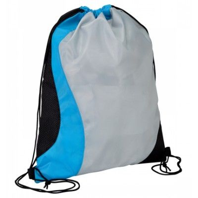 Sisco Sports Bag. Drawstring sport bag- Diamond non woven trim. Coloured wave design. Supplied in polybag. Light Blue, Red, Green, Orange, Black. Digital Transfer (D817_IMAGE)