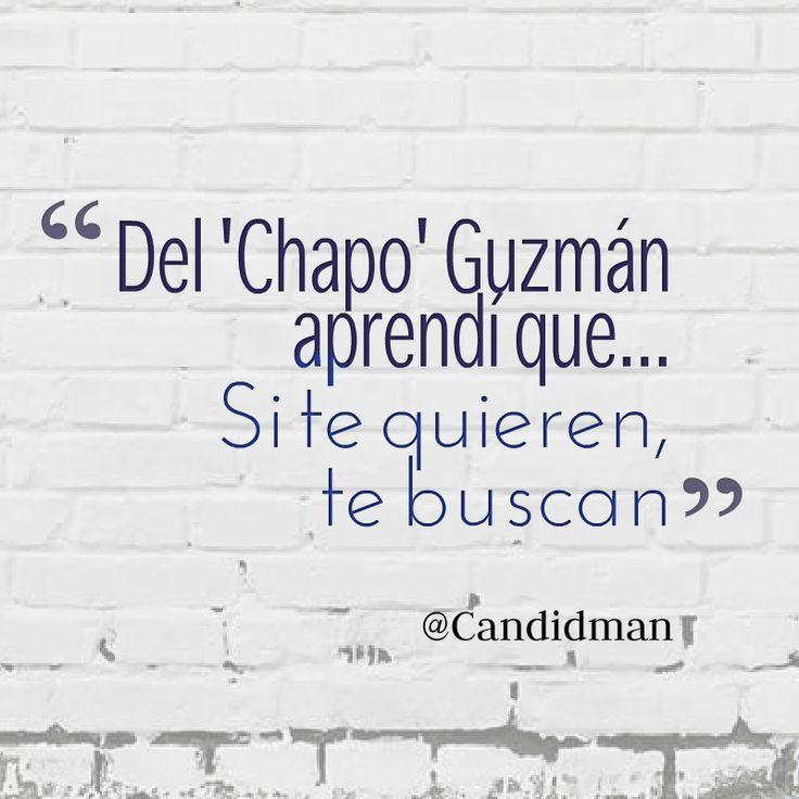 """Del #ChapoGuzmán aprendí que… Si te quieren, te buscan"".  #Candidman #Frases #Humor"