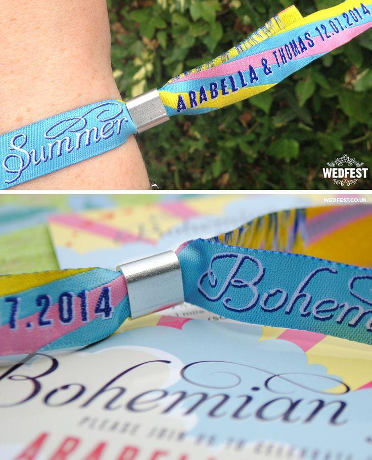 boho wedding festival wristbands - http://www.wedfest.co/bohemian-summer-festival-wedding-stationery/