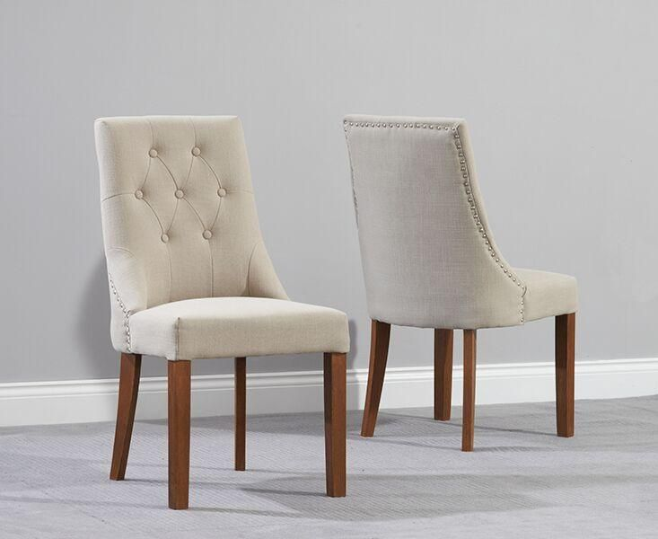 Pailin Dark Fabric Dining Chairs with Solid Oak Legs (Pair)