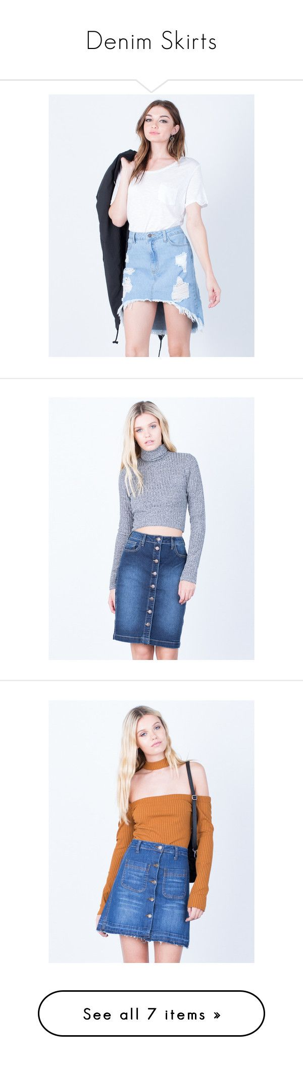 """Denim Skirts"" by shop2020ave ❤ liked on Polyvore featuring denimskirts, skirts, zipper skirt, ripped skirt, button front skirt, button front denim skirt, ripped denim skirt, denim button up skirt, button-front denim skirts and knee length denim pencil skirt"
