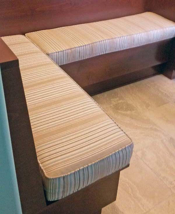 Bench Cushions Done in Sunbrella Reel Slate from the Fusion Collection Enhance Eat-in Breakfast Nook Banquette