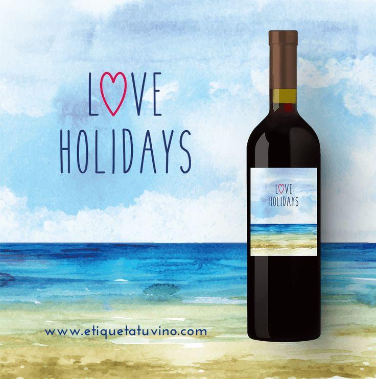Vino personalizado diseñado para brindar por las Vacaciones. En exclusiva en etiquetatuvino.com