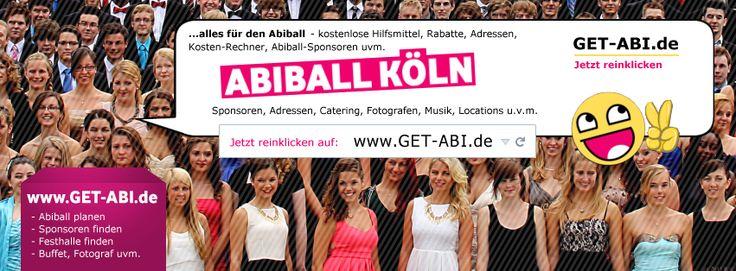 Abiball KÖLN - um die Abiballplanung in Köln viel einfacher zu machen gibt es auf dieser FB-Seite sehr viele Tipps und Kontakte in Köln, z.B. für Festhallen, Cateringdienste, Fotografen, Livemusik/DJ usw.  https://www.facebook.com/pages/Abiball-K%C3%B6ln/733850459997545?ref=bookmarks