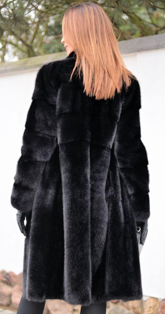 mink furs - milano black saga mink fur coat 2017/2018