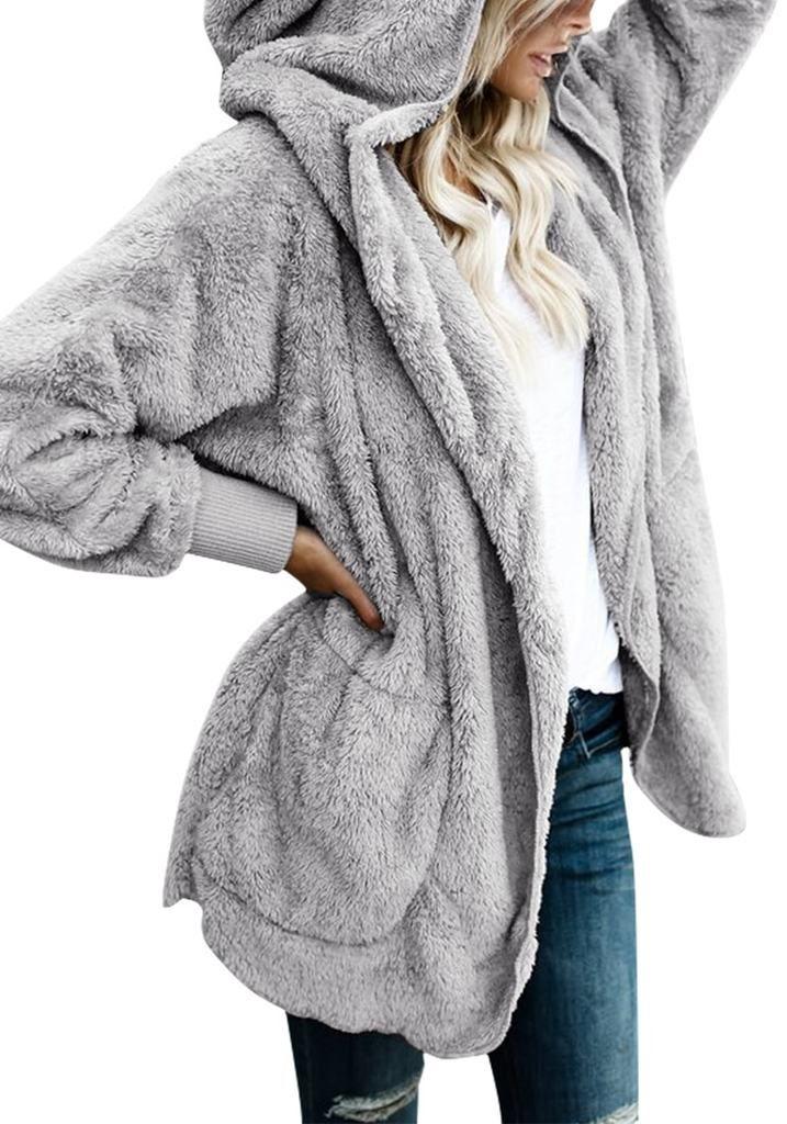 Women Plus Size Parka Coat Winter Fleece Warm Overcoat Plush Cardigan Outwear Long Sleeve Loose Hooded Jacket