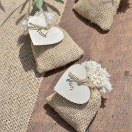 Sachet à dragées toile de jute naturelle les 4  Déco anniversaire, mariage, wedding et fêtes